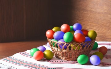 easter, eggs, holiday, basket, towels