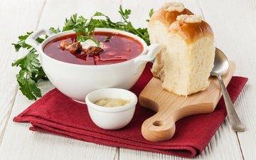 зелень, борщ, сметана, суп, пампушки