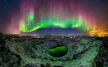 свет, ночь, огни, звезды, северное сияние, кратер, исландия, кратерное озеро, kerið, керид