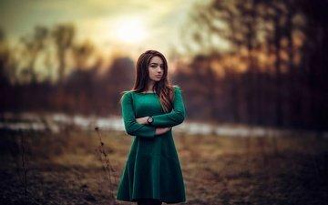 вечер, девушка, платье, макияж, прическа, позирует, зеленое, красивая, шатенка, на природе, боке, alexandra, hakan erenler