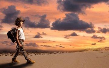 sunset, sand, desert, the situation, children, boy, cap, satchel