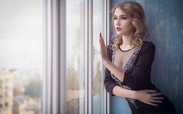 девушка, платье, взгляд, фотограф, окно, alexander vs