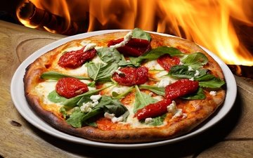 fire, tomatoes, pizza, arugula