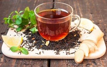 мята, листва, доска, лимон, чай, заварка, имбирь, листья