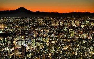 огни, панорама, город, япония, мегаполис, токио