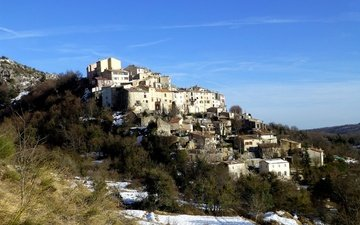 горы, снег, пейзаж, склон, дома, франция, курсегуль