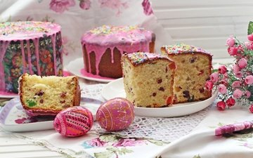 easter, cake, serving, eggs