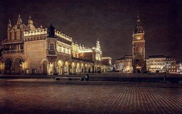 ночь, башня, архитектура, здания, площадь, польша, краков