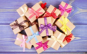 gifts, tape, bow, wood, box