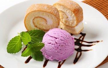 мята, листва, мороженое, сладости, сладкое, мороженное, выпечка, десерт, клубки, кулич, сервировка, фруктовое