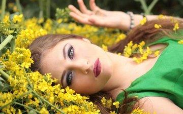 цветы, девушка, взгляд, лицо, макияж, шатенка