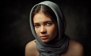 девушка, портрет, взгляд, волосы, лицо, платок