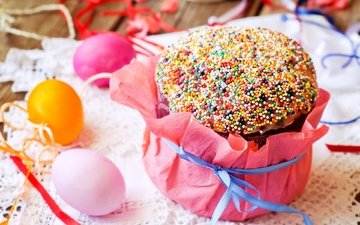 easter, eggs, cake, decor, powder