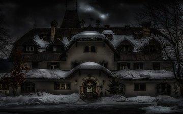 снег, новый год, зима, австрия, дом, архитектура, праздник, рождество