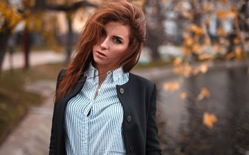 девушка, взгляд, волосы, лицо, рубашка, веснушки, настя
