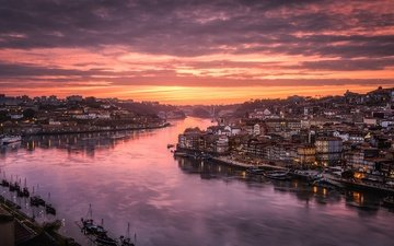 небо, свет, вечер, река, город, дома, португалия, порту, река дору