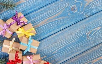 новый год, подарки, лента, рождество, бант, дерева, коробки, дары