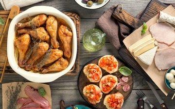 хлеб, овощи, мясо, помидоры, дерева, оливки, курица, соус, grilled