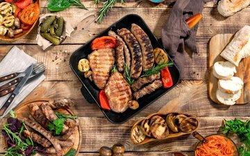 хлеб, овощи, мясо, дерева, соус, гриль, барбекю, grilled