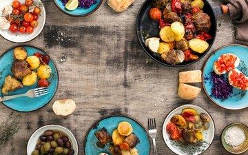 хлеб, овощи, мясо, помидоры, дерева, оливки, картошка, гриль, барбекю