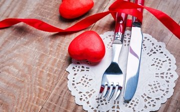 plug, knife, hearts, romantic, red, candles, valentine's day