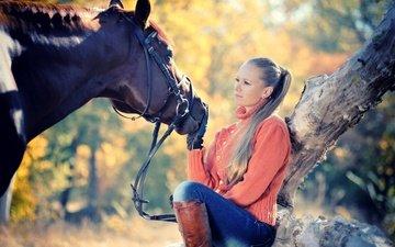 лошадь, солнце, дерево, девушка, блондинка, осень, джинсы, прическа, свитер, сапоги, перчатки, боке