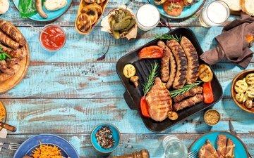 овощи, мясо, пиво, дерева, гриль, барбекю, grilled