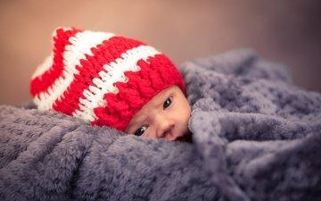 взгляд, дети, ребенок, малыш, плед, шапочка, новорожденный