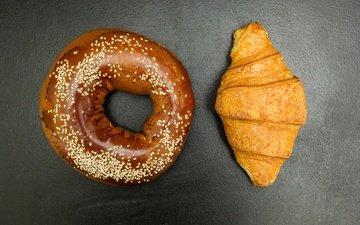 пончик, пончики, выпечка, круассан, сдоба, круассаны, бублик