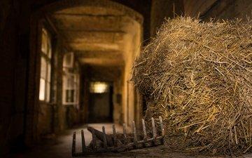 hay, the barn, bokeh, rake