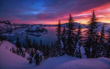 вечер, озеро, горы, снег, зима, утро, сша, вулкан