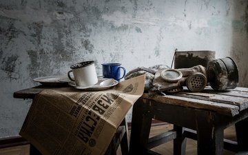 house, room, mug, newspaper, gas mask, stool, life, news