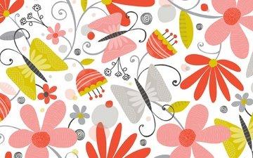 цветы, фон, бабочки