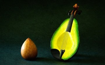 фон, скрипка, фрукты, фантазия, струны, авокадо