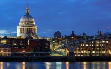 фонари, огни, вечер, река, мост, лондон, дома, англия, набережная, дворец, здания