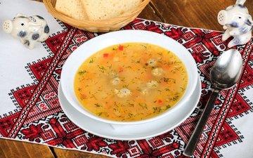 хлеб, тарелка, ложка, суп