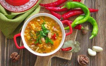 зелень, орехи, овощи, перец, чеснок, суп, харчо