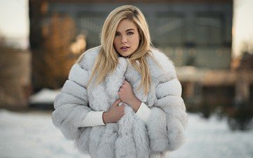 girl, blonde, look, fur, coat, sergey fat, ashley booth