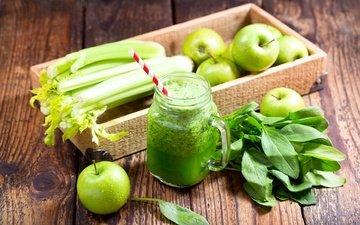 напиток, яблоки, кружка, водопой, сок, сельдерей, фреш, парное, эппл, шпинат
