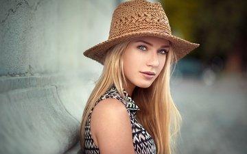 девушка, блондинка, портрет, взгляд, волосы, лицо, шляпа, ева, lods franck, ева микульски