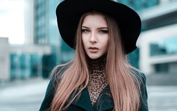 девушка, портрет, взгляд, модель, лицо, шляпа, красивая, шатенка, длинноволосая, анна соболь