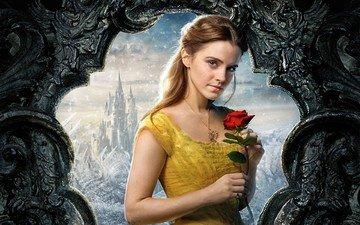 снег, платье, цветок, замок, роза, красный, актриса, кино, ожерелье, эмма уотсон, веснушки, карие глаза, дисней, красавица и чудовище, каштановые волосы