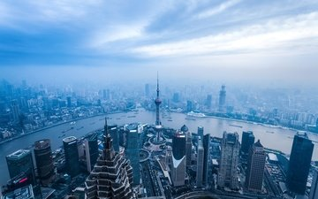 river, fog, panorama, the view from the top, skyscrapers, shanghai, megapolis, home, china, blue