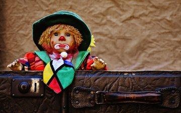 игрушка, кукла, игра, клоун, чемодан