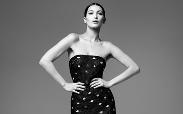 girl, dress, black and white, model, bella hadid