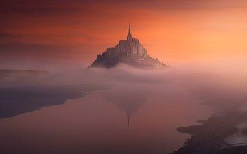 вечер, утро, туман, остров, франция, мон-сен-мишель, гора святого михаила