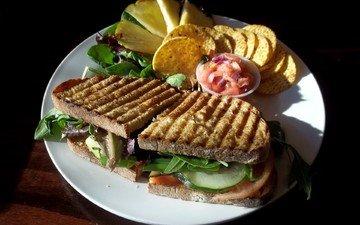 зелень, бутерброд, хлеб, овощи, ананас, салат, чипсы, сэндвич, огурец, сэндвичи