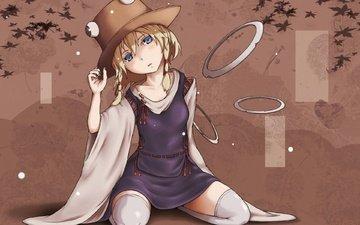 girl, dress, hat