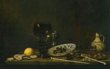picture, lemon, tube, pitcher, canvas, still life, cup, flute, jan jans van de velde iii