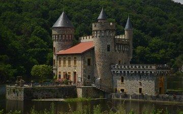 озеро, замок, франция, лейка, франци, chateau de la roche